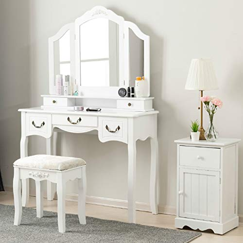 Mecor Vanity Table, Wood Makeup Dressing Table Tri-Folding Mirror,Bedroom Vanity Set w/Cushioned ...