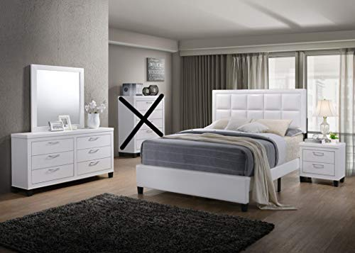 GTU Furniture Contemporary Styling White 4Pc Queen Bedroom Set(Q/D/M/N)