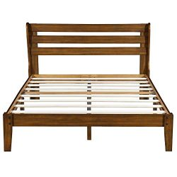 PrimaSleep PR40SF01Q Platform Headboard/Wood Bed Frame, Queen Brown