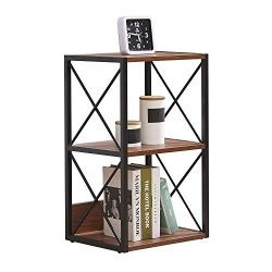 H.J WEDOO 2/3/4 Tier Industrial Bookshelf,Bedside Table Vintage Open Etagere Bookcase, Rustic Bo ...