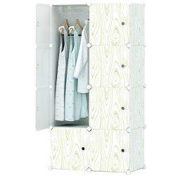 KOUSI Portable Closet Wardrobe Closets Clothes Wardrobe Bedroom Armoire Storage Organizer with D ...