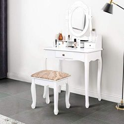 Giantex Vanity Set Makeup Dressing Table with Mirror, White Vanity Tables for Bedroom Bathroom L ...