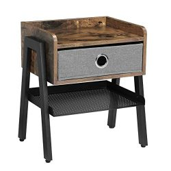 VASAGLE Industrial Nightstand, End Table with Metal Shelf, Side Table for Small Spaces, Wood Loo ...
