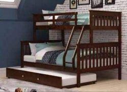 Donco Kids 122-3-TFCP-503-CP Mission Bunk Bed with Trundle, Twin/Full/Twin, Dark Cappuccino