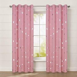 Anjee Cute Pink Blackout Curtains for Girls' Bedroom, Silver Star Print Thermal Insulated  ...