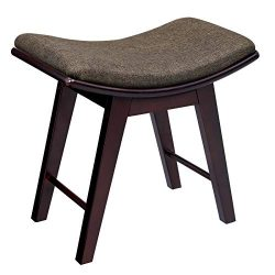 SONGMICS Vanity Stool, Modern Makeup Dressing Stool with Concave Seat Surface, Padded Bench with ...