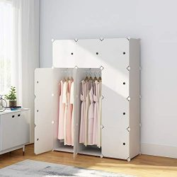 KOUSI Portable Wardrobe Closet for Bedroom Clothes Armoire Dresser MultiFuncation Cube Storage O ...