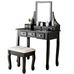Mecor Makeup Vanity Table Set, Dressing Table w/Square Mirror Women Girls Vanity Set with Cushio ...