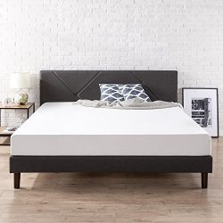 Zinus Upholstered Geometric Paneled Platform Bed / Mattress Foundation / Easy Assembly / Strong  ...