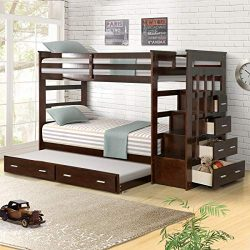 Solid Wood Bunk Bed Frame for Kids, Hardwood Twin Over Twin Bunk Bed Frame with Trundle and Stai ...