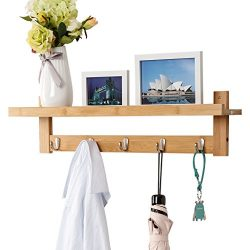 LANGRIA Wall-Mounted Coat Hook Bamboo Wooden Coat Rack and Hook Rack with 5 Metal Hooks and Uppe ...