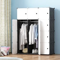 JOISCOPE MEGAFUTURE Modern Portable Closet for Hanging Clothes, Combination Armoire, Modular Cab ...