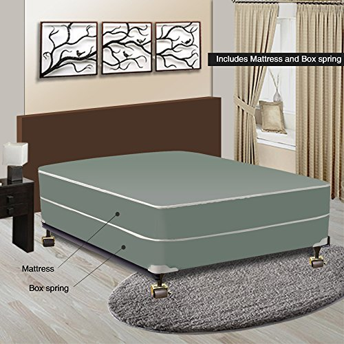 Spinal Solution 8-inch Firm Innerspring Tight Top Double Sided Mattress and Box Spring/Foundatio ...