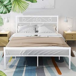 GreenForest Queen Bed Frame with Wooden Slats Support Metal Platform with Headboard No Box Sprin ...