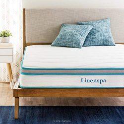 Linenspa 8 Inch Memory Foam and Innerspring Hybrid Mattresses – Medium Feel – Queen