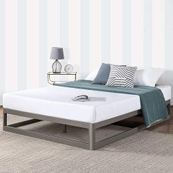 Mellow King 12″ Metal Platform Bed Frame w/Heavy Duty Steel Slat Foundation, Grey
