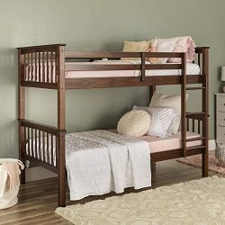 WE Furniture AZWTOTMSWT Twin Bunk Bed, Walnut