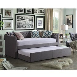 Rosevera D1A-E (3-G) Elsa01 Elsa Twin Size Daybed with Trundle, Grey