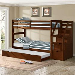 Harper&Bright Designs Twin-Over-Twin Trundle Bunk Bed with 4 Storage Drwers (Walnut)