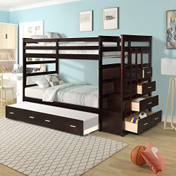 Meritline Solid Wood Bunk Bed for Kids, Hardwood Twin Over Twin Bunk Bed with Trundle and Stairc ...
