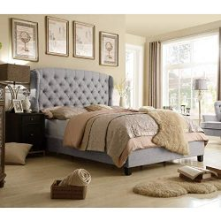 Rosevera Ralls Upholstered Panel Bed (King, Grey)