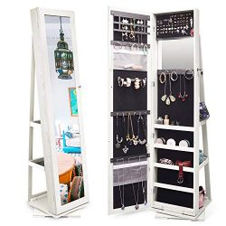 Titan Mall Jewelry Organizer Standing Jewelry Armoire with Mirror 360 Rotating Jewelry Cabinet F ...