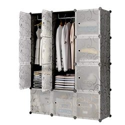 KOUSI Portable Closet Clothes Wardrobe Bedroom Armoire Storage Organizer with Doors, Capacious & ...