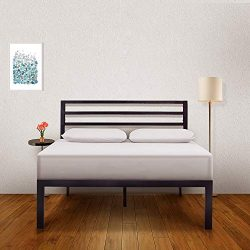 Ambee21 – Bed Frame with Headboard: (14 inch) Queen Bed Frame – Black Heavy Duty Metal Bed ...