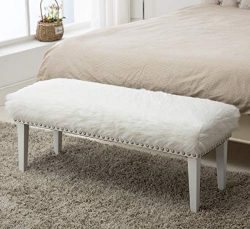 Yongchuang White Faux Fur Ottoman Bench for Bedroom/Entryway/Hallway Decorative Bed Ottoman Bench