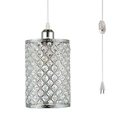 HMVPL Plug in Pendant Lighting Fixtures with Long Hanging Cord and Dimmer Switch, Modern Crystal ...