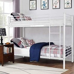 Costzon Twin Over Twin Bunk Bed, Metal Frame with Ladder Guard Rail for Boys & Girls Teens K ...