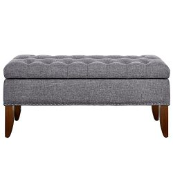 Pulaski DS-D107003-620 Hinged Top Button Tufted Bed Heathered Grey, 41.50″ W x 15.75″ ...