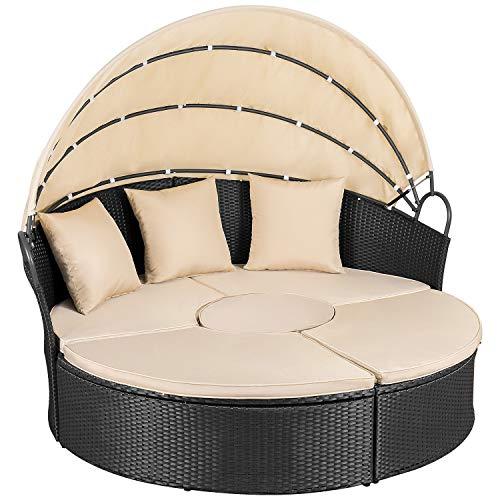 Homall Outdoor Patio Round Daybed with Retractable Canopy Wicker Furniture Sectional Seating wit ...