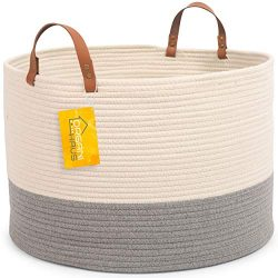OrganiHaus XXL Extra Large Cotton Rope Basket w/Real Leather Handles | Wide 20″x13.3″ ...