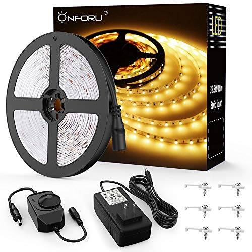 Onforu 33ft Dimmable LED Strip Lights Kit, 600 Units SMD 2835 LEDs, 12V Under Cabinet Lighting S ...
