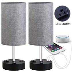 Focondot Table Lamp, Bedside Nightstand Lamps with Dual USB Charging Ports & an AC Outlet, U ...