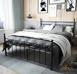 TEMMER Reinforced Metal Bed Frame Queen Size with Headboard and Stable Metal Slats Boxspring Rep ...