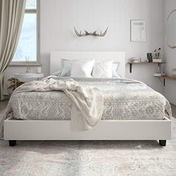 Carley Upholstered Bed, White Faux Leather, Full
