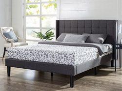 Zinus Dori Upholstered Square Stitched Wingback Platform Bed / Mattress Foundation / Easy Assemb ...
