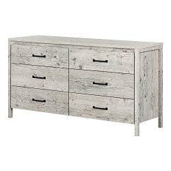 South Shore 11896 Gravity 6-Drawer Double Dresser, 0, Seaside Pine