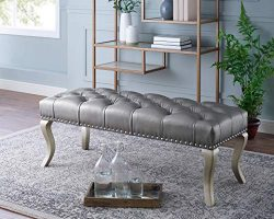 Roundhill Furniture CB007CP Maxem Tufted Faux Leather Upholstered Seat with Nailhead Trim Bench, ...