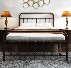 TEMMER Metal Bed Frame Full Size with Headboard and Stable Metal Slats Boxspring Replacement/Foo ...