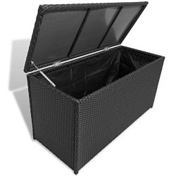 Tidyard Garden Storage Box Outdoor Chest Poly Water-Resistant PE Rattan Black Brown for Blankets ...