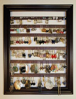 Earring Holder Organizer Storage Jewelry Rack – Wall Mounted Picture Frame Hanging Jewelry ...
