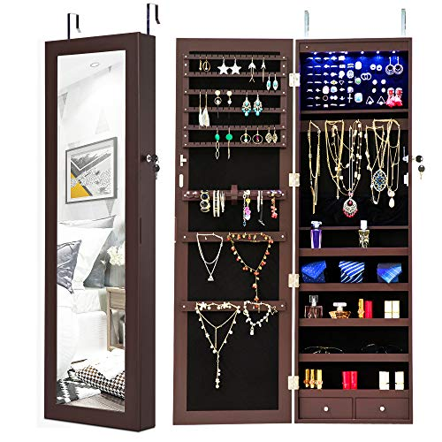 Homevibes Jewelry Cabinet Jewelry Armoire 6 LEDs Mirrored Makeup Lockable Door Wall Mounted Jewe ...