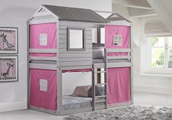 Donco Kids 1370-TTLG_1370-DP Deer Blind Bunk Loft Bed with Pink Tent, Twin/Twin, Light Grey