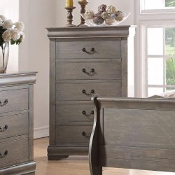 Major-Q 9023866 Antique Gray Finish 5-Drawer Chest for Bedroom