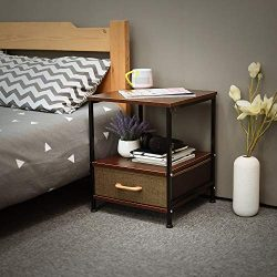 Qwork 2-Tier Square End Table/Side Table/Bedside Table with Storage Drawer and Shelf for Bed Sof ...