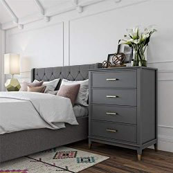 CosmoLiving Westerleigh 4 Drawer Dresser, Graphite – Graphite Grey