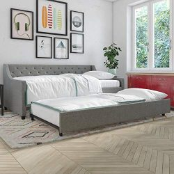 Novogratz Her Majesty Daybed and Trundle, Twin, Grey Linen